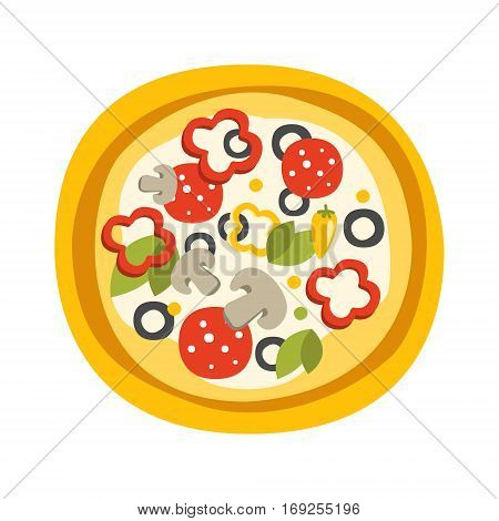 Round Full Pizza With Pepperoni Primitive Cartoon Icon, Part Of Pizza Cafe Series Of Clipart Illustrations. Vector Simplified Clip-Art Drawing Element.