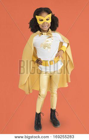 Little Girl Superherokid Pose Smile Studio