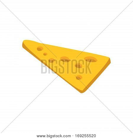 Thin Slice Of Yellow Cheese With Holes Primitive Cartoon Icon, Part Of Pizza Cafe Series Of Clipart Illustrations. Vector Simplified Clip-Art Drawing Element.