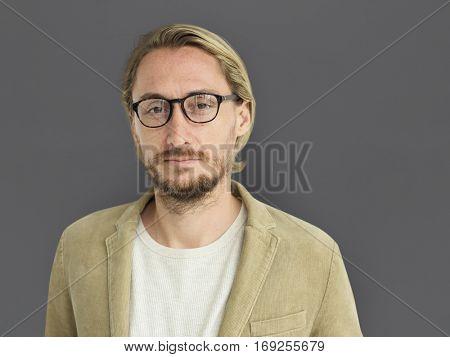 Caucasian Man Serious Focused Portrait