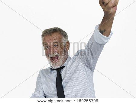 Caucasian Business Man Hands Up Achieve