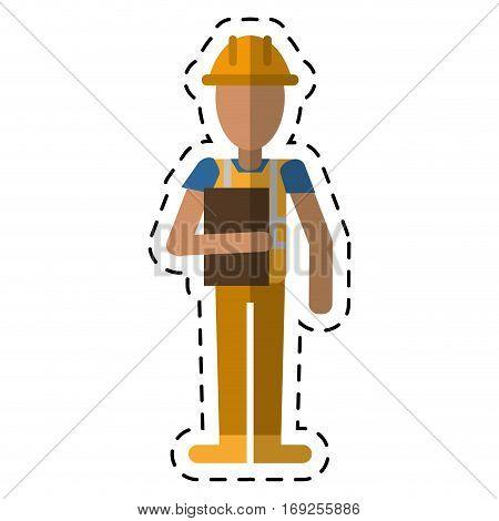 avatar construction man overalls clipboard cutting vector illustration eps 10