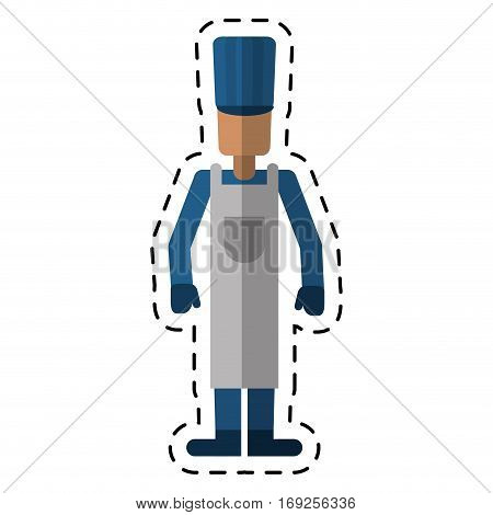avatar man hat apron gloves worker cutting vector illustration eps 10