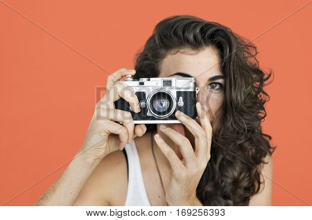 Woman Photographer Camera Focus Photography Concept
