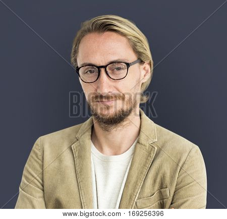 Caucasian Man Serious Focused Portrait