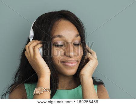 African Descent Woman Listening Music Portrait