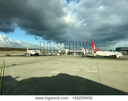 GENEVA - JANUARY 4: Aircraft operations at Geneva International Airport on January 4, 2017 in Geneva, Switzerland.