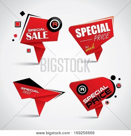 Sale tag set with special offer labels - vector origami style banners
