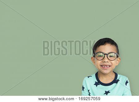 Little Boy Wear Glasses Smile Studio
