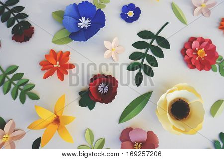 Different flower decorations made out of paper