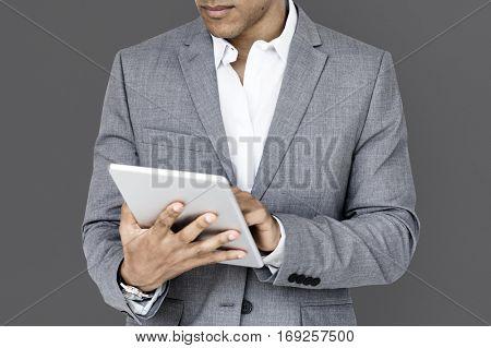 African Descent Business Man Tablet Concept