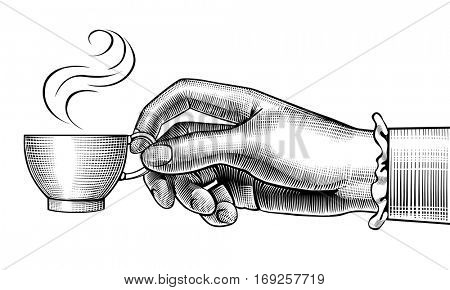 Woman's hand with a coffee cup. Vintage stylized drawing. Vector illustration