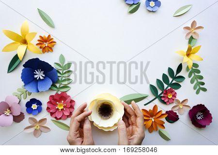 Flower floral paper cut outs decoration