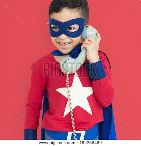 Superhero Boy with Telephone Concept
