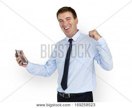 Caucasian Business Man Calculator Smiling