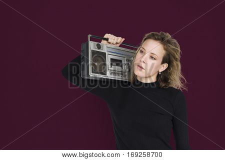 Caucasian Lady Holding Jukebox Neutral
