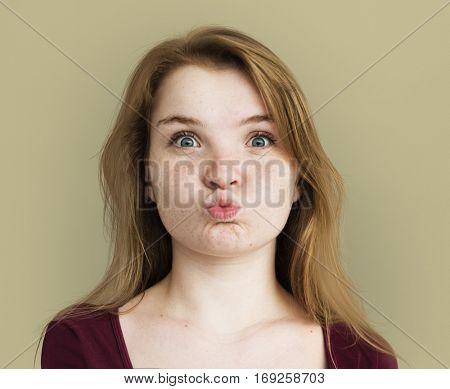 Caucasian Freckles Girl Smiling Portrait
