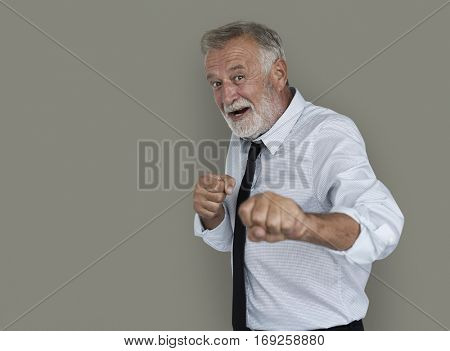 Caucasian Business Man Playful Fighting