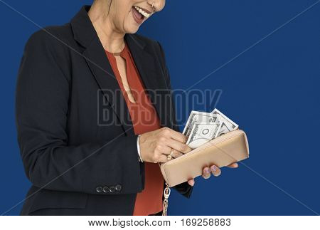 Business Woman Wallet Money Concept