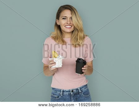 Caucasian Woman With Bread Coffee Concept