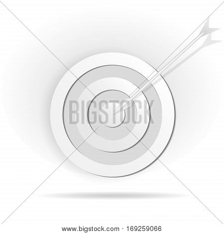 Icon of target impaled by arrow. Vector illustration