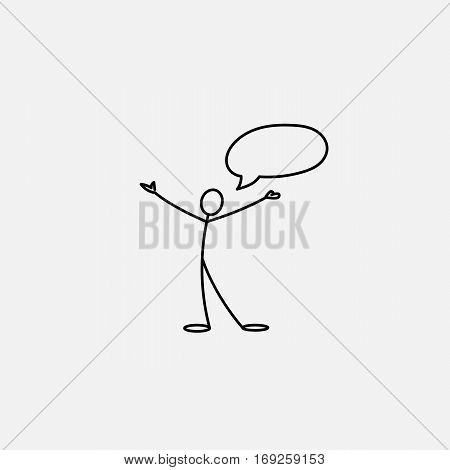 Happy man stick figure open to the world and speech bubble