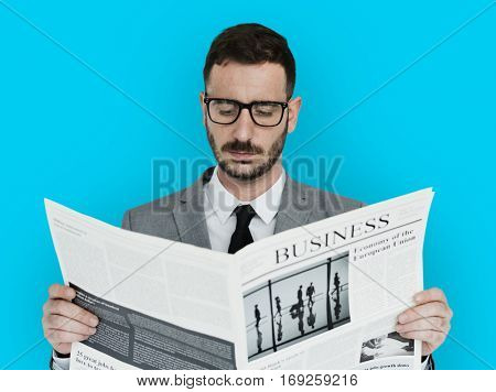 Caucasian Business Man Newspaper