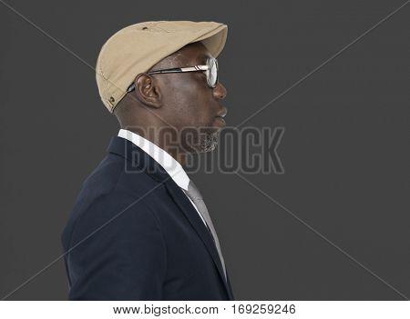 African Descent Glasses Hat Side Concept