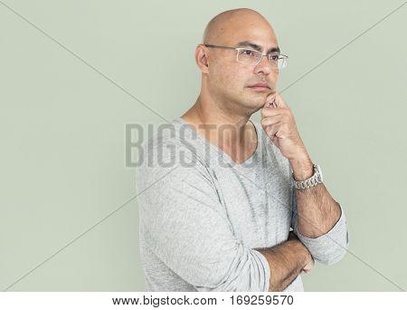 Mature Man Sad Deep Thoughts Concept