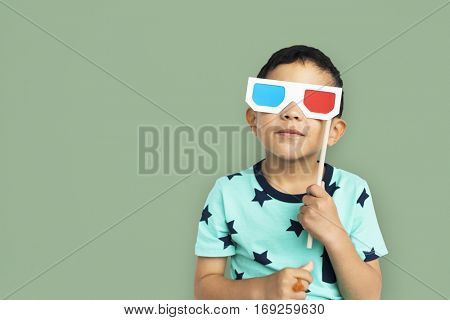 Little Boy With 3D Glasses Concept