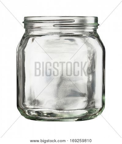 Open empty glass jar isolated on white