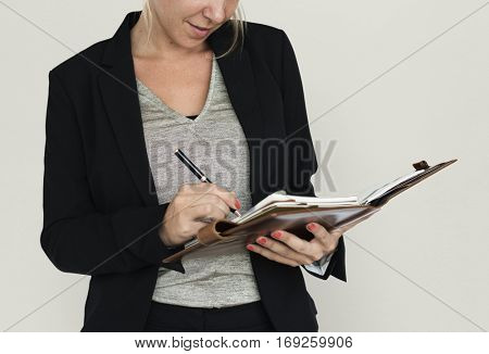 Businesswoman Document Working Portrait Concept