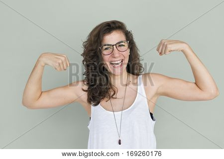 Cheerful Adult Woman Isolated Portrait Concept
