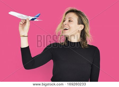 female Airplane transportation Isolated Concept