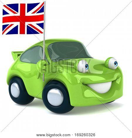 Green car - 3D Illustration
