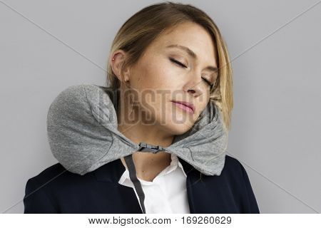 Caucasian Woman Travel Pillow Resting