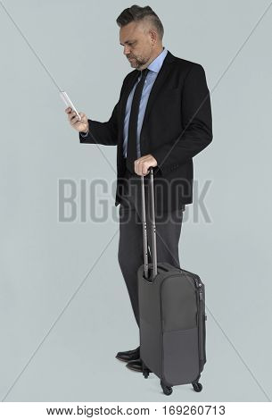 Caucasian Business Man Travel Luggage
