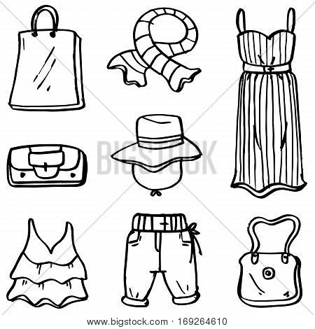 Doodle of clothes set object vector art collection stock