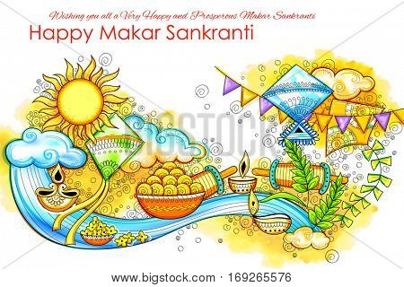 illustration of Makar Sankranti wallpaper with colorful kite for festival of India