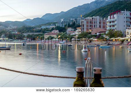 RAFAILOVICI, MONTENEGRO - SEPTEMBER 20, 2016:The September night in Rafailovici bay, Montenegro