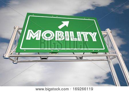 Mobility Freeway Sign New Transportation Ride Sharing 3d Illustration