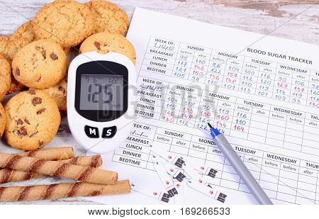 Glucometer, Heap Of Cookies And Medical Form, Diabetes, Reduction Eating Sweets