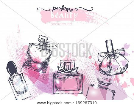 Beautiful Perfume Bottle, On Watercolor Background. Beautiful And Fashion Background. Vector Illustr