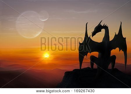 3D illustration of black dragon sitting on a stone against the setting sun