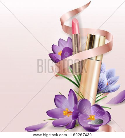 Cosmetic product Foundation concealer creamwith lipstick and flowers crocuses. Beauty and cosmetics background. Use for advertising flyer banner leaflet.Template Vector.
