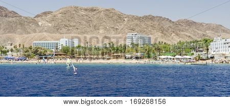 View on the southern public beach near Eilat - famous resort city in Israel