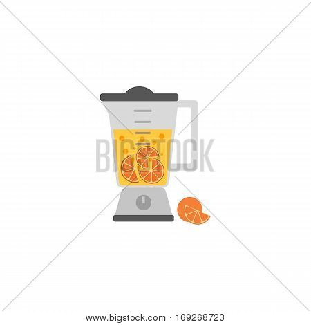 Kitchen appliance isolated on white. Electric juice blender. Home food processor juicer machine. Flat style vector illustration of household blending device. Mixer fresh orange drink kitchenware