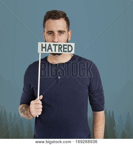 Adult man Hatred Face Expression Concept