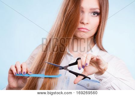 Female Hairdresser Presenting Tools.