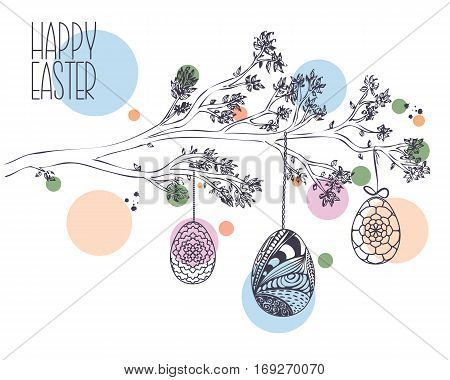 Easter Greeting Card With Hand Drawn Branch With Leaves And Hanging Ornamental Easter Eggs On Dots I
